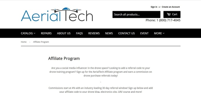 screenshot of the affiliate sign up page for AerialTech