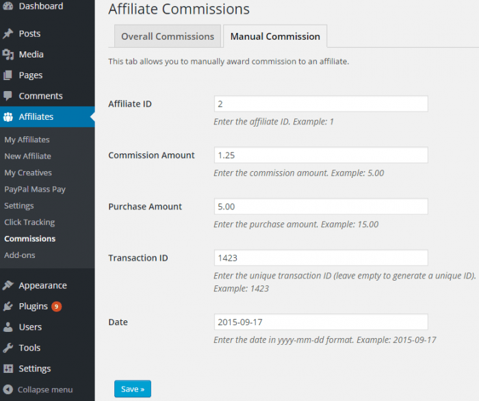 The manual commission tab with fields for the affiliate ID, commission amount, purchase amount, transaction ID, and date.