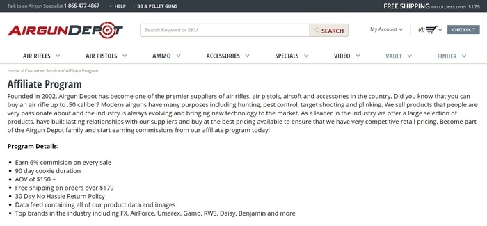 screenshot of the affiliate sign up page for Airgun Depot