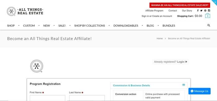 screenshot of the affiliate sign up page for All Things Real Estate
