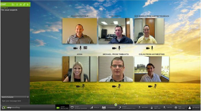 A webinar with 6 presenters, each appearing inside a small box in a grid layout. On the left is the audience chat.