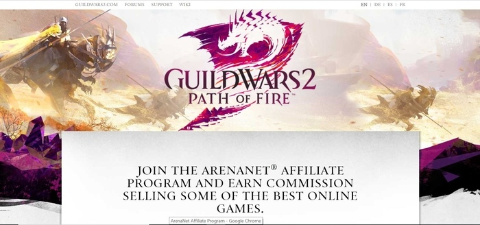 screenshot of the affiliate sign up page for ArenaNet