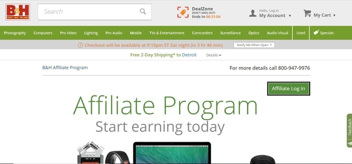 screenshot of the affiliate sign up page for B&H