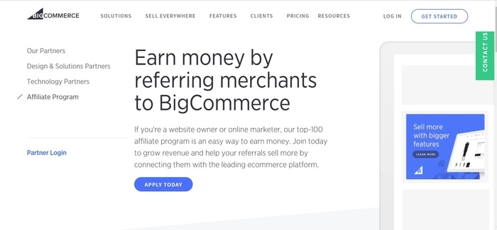 screenshot of the affiliate sign up page for BigCommerce