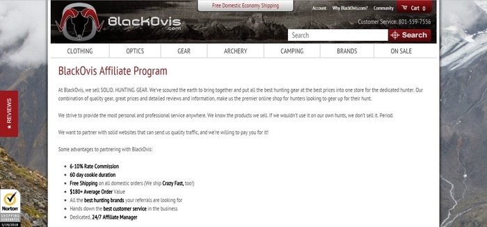 screenshot of the affiliate sign up page for BlackOvis