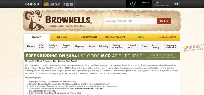 screenshot of the affiliate sign up page for Brownells