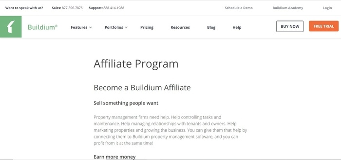 screenshot of the affiliate sign up page for Builium