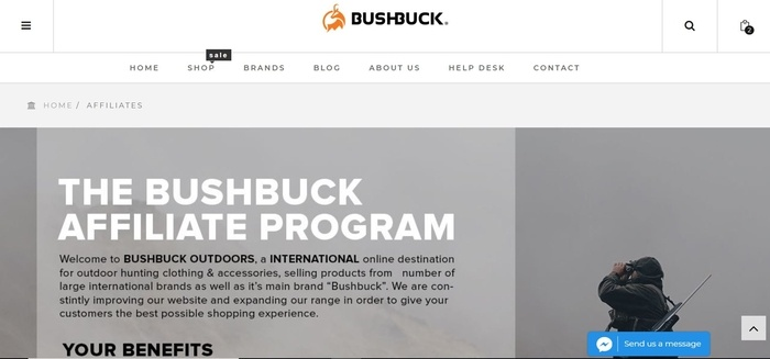 screenshot of the affiliate sign up page for Bushbuck Outdoors