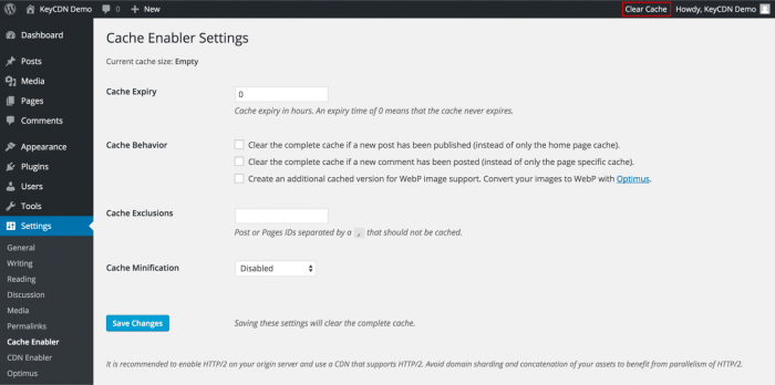 The Cache Enabler Settings tab as it appears inside the WordPress dashboard. The admin can determine the settings for cache expiry, cache behavior, cache exclusion, and minification.