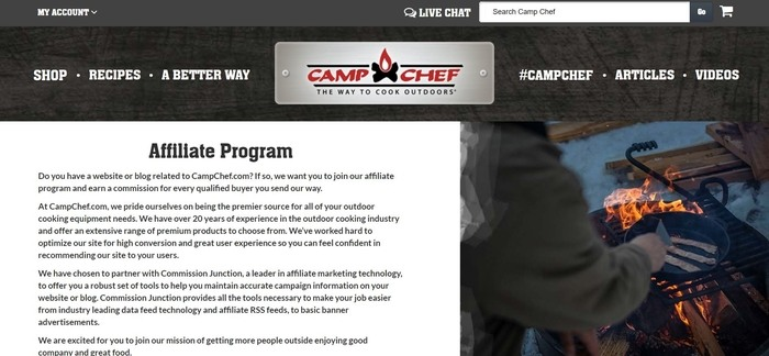 screenshot of the affiliate sign up page for CampChef