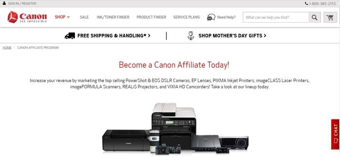screenshot of the affiliate sign up page for Canon