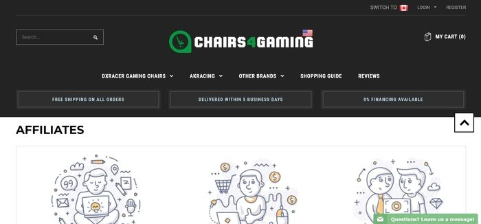 screenshot of the affiliate sign up page for Chairs4Gaming
