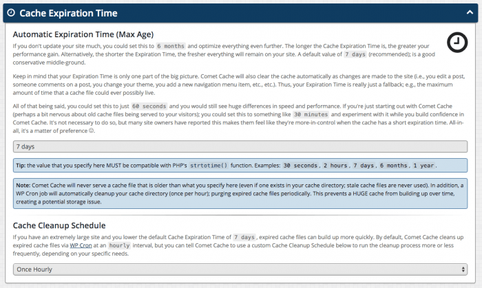 The Cache Expiration Time settings page. Following the page's header title, there are a few paragraphs explaining the feature, followed by a few tips and a field for the chosen duration. At the bottom is the Cache Cleanup Schedule feature with a field for the interval.