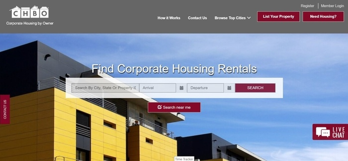 screenshot of the affiliate sign up page for Corporate Housing By Owner