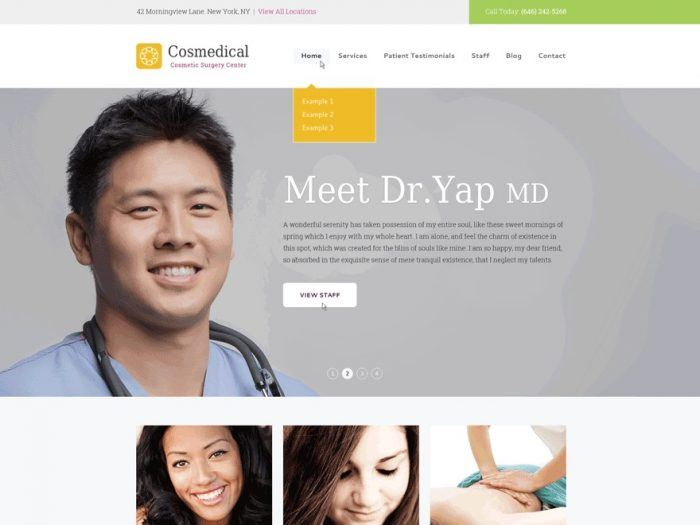 The Cosmedical homepage, with a header menu at the top, a background image with a text on top of it in the middle, and a grid layout at the bottom.