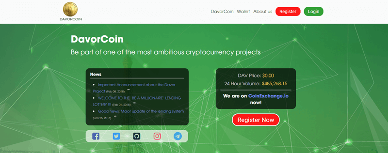 DavorCoin website screenshot showing a bright green background with various dots and lines.