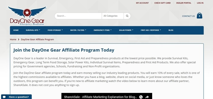 screenshot of the affiliate sign up page for DayOne Gear