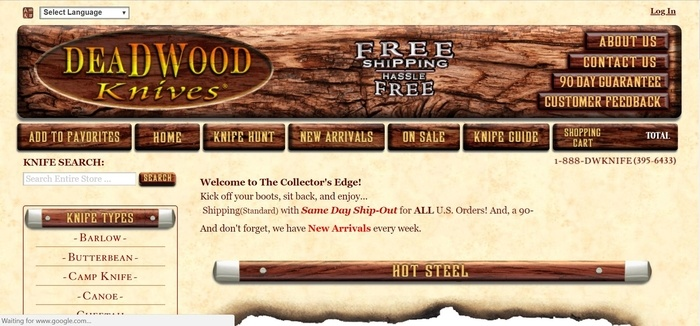 screenshot of the affiliate sign up page for Deadwood Knives