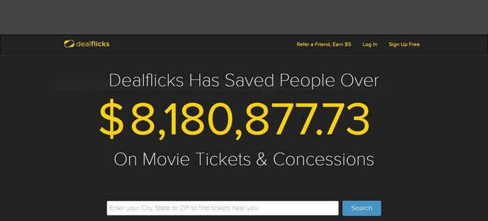 screenshot of the affiliate sign up page for Dealflicks
