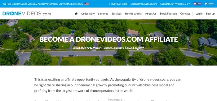 screenshot of the affiliate sign up page for DroneVideos.com