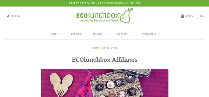 screenshot of the affiliate sign up page for ECOlunchbox