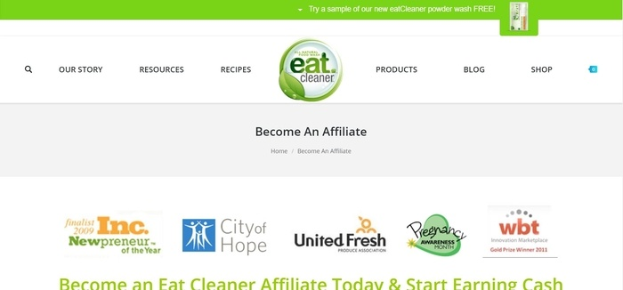 screenshot of the affiliate sign up page for Eat Cleaner
