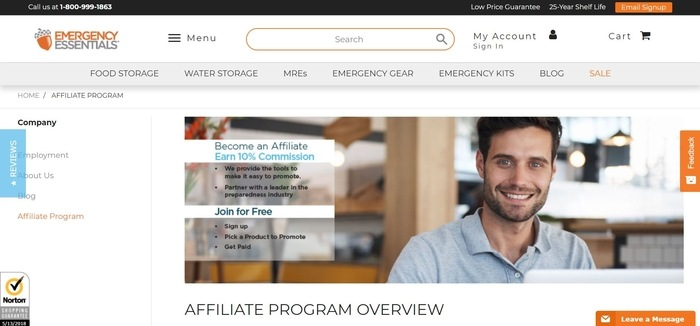 screenshot of the affiliate sign up page for Emergency Essentials