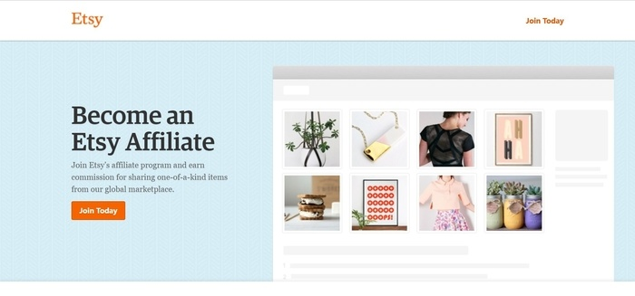 screenshot of the affiliate sign up page for Etsy