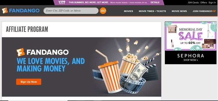 screenshot of the affiliate sign up page for Fandango