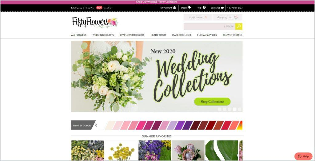 screenshot of Fifty Flowers web page
