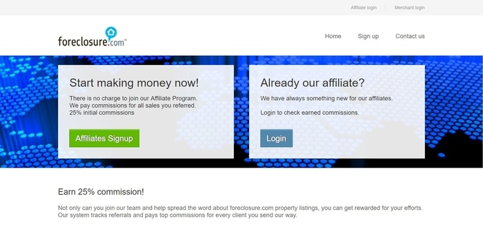 screenshot of the affiliate sign up page for Foreclosure.com
