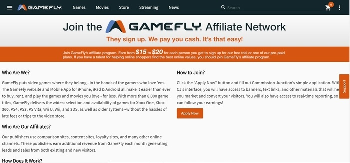 screenshot of the affiliate sign up page for GameFly