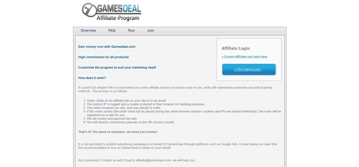 screenshot of the affiliate sign up page for GamesDeal
