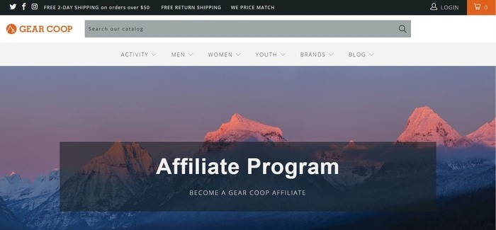 screenshot of the affiliate sign up page for Gear Co-op