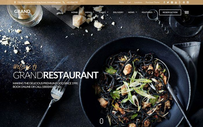 The Grand Restaurant homepage with a full-screen background image, a navigation menu bar at the top, and a welcome text in the center.