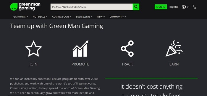screenshot of the affiliate sign up page for Green Man Gaming