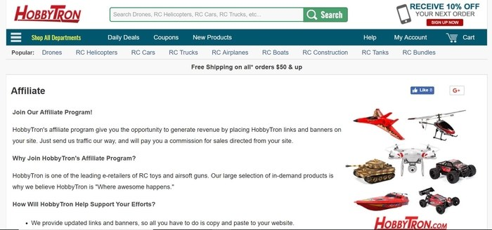 screenshot of the affiliate sign up page for HobbyTron