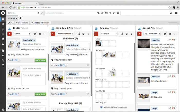 The HootSuite dashboard with four columns for the drafts, scheduled pins, calendar, and latest pins respectively. The drafts and scheduled pins columns show post previews with thumbnails. The calendar column represents the days with thumbnails of the scheduled posts. The latest pins column shows overviews of posts.