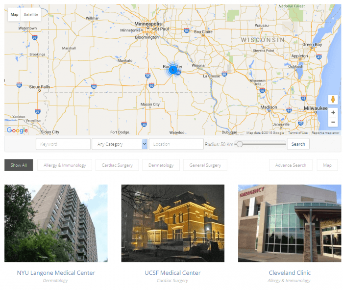 A Google map with a search engine in the top half and listings in the bottom half. The search engine has keyword, category, and location fields. Each of the listings appears with a featured image, name, and specialty.