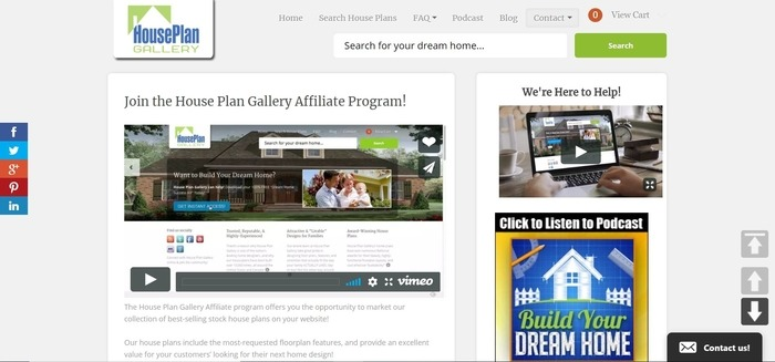 screenshot of the affiliate sign up page for House Plan Gallery