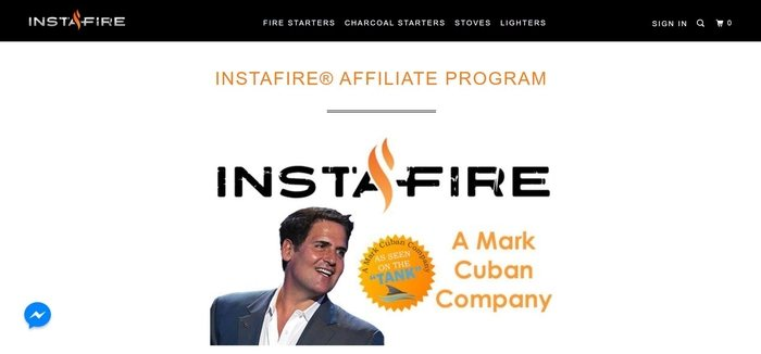 screenshot of the affiliate sign up page for InstaFire