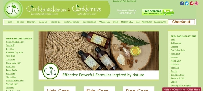 screenshot of the affiliate sign up page for Just Natural Products