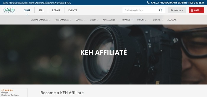 screenshot of the affiliate sign up page for KEH Camera