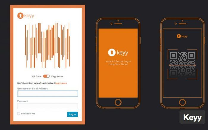 The Keyy verification screen inside the mobile app where the Keyy Wave option is activated. The other option is QR code, and at the top is a drawing of the wave. At the bottom are the login fields. On the right of the screen is a picture of the app's opening screen and another with a QR code inside the app.