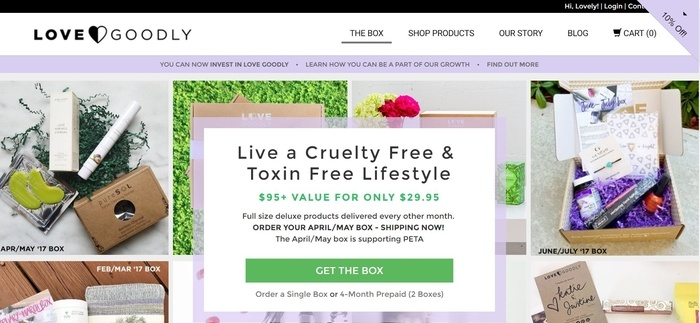 screenshot of the affiliate sign up page for LOVE GOODLY
