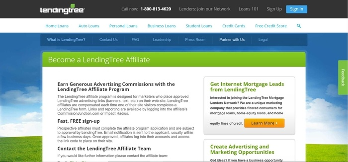 screenshot of the affiliate sign up page for LendingTree