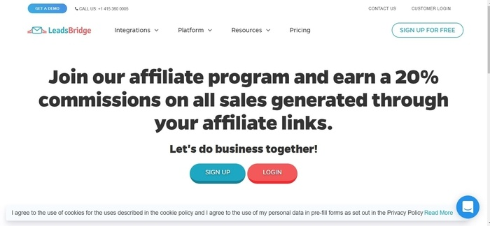 screenshot of the affiliate sign up page for LeadsBridge