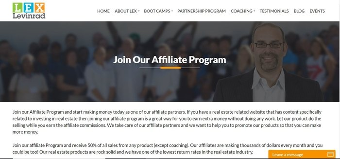screenshot of the affiliate sign up page for Lex Levinrad