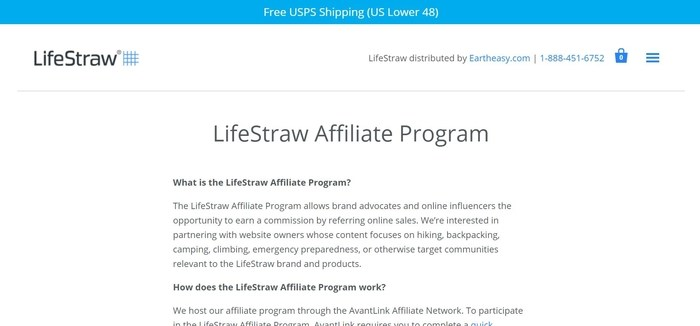 screenshot of the affiliate sign up page for LifeStraw