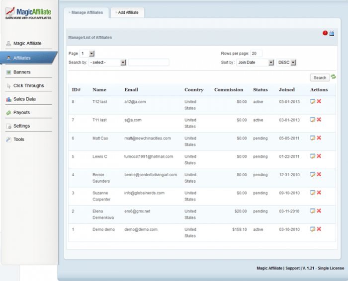 A list of affiliates as it appears inside the MagicAffiliate dashboard. Each affiliate in the list appears with an ID, name, email address, country, commission, status, and date of joining.